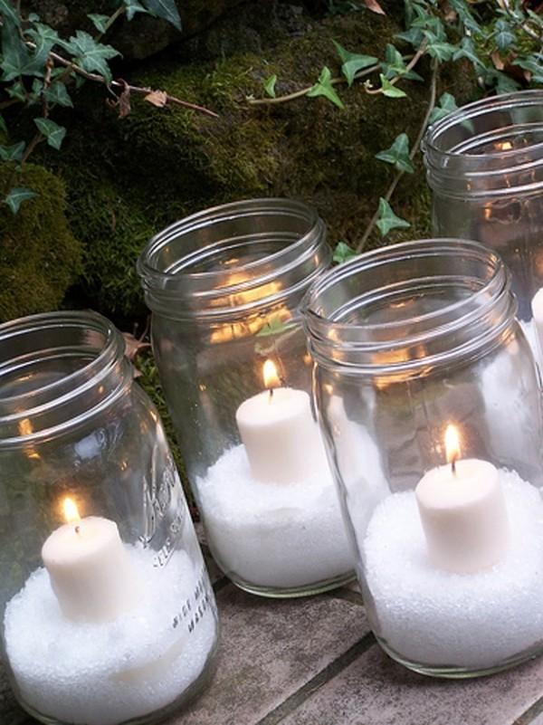 Glas mit Kerzen Weihnachtsschmuck Ideen Kerzen dekorieren