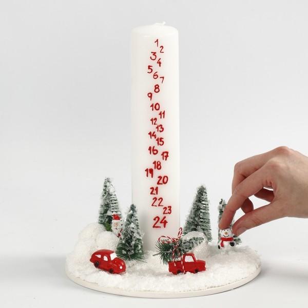 Kerzen dekorieren Adventskalender Weihnachtsdeko