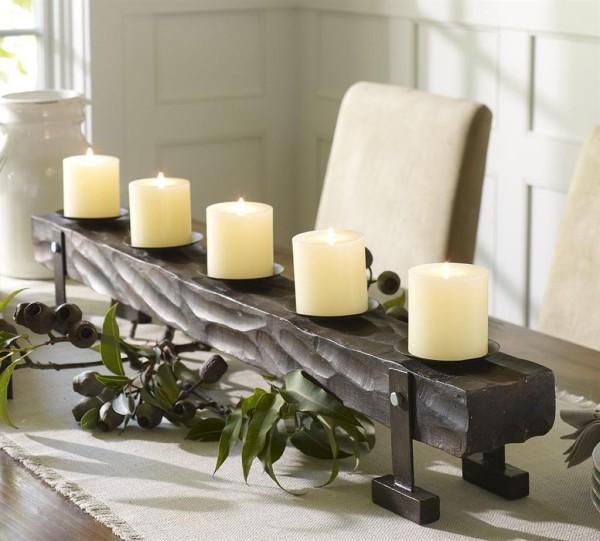 Kerzen dekorieren Edelstahl Weihnachtsdeko