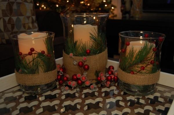 Kerzen dekorieren Kerzendeko mit Tannen