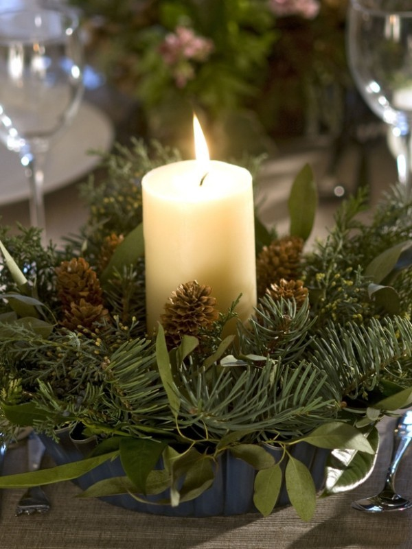 Kerzen dekorieren - Nadelbaum Ideen weihnachtsdeko