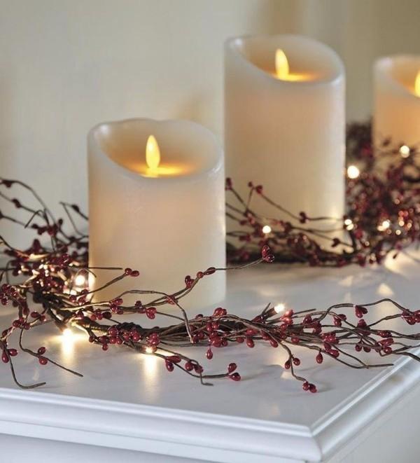 Kerzen dekorieren edle weihnachtsdeko