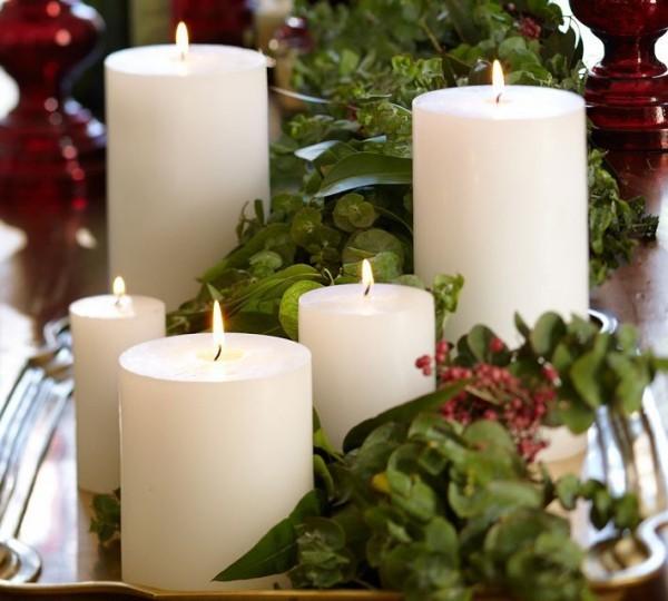 Kerzen dekorieren grüne dekoideen weihnachten