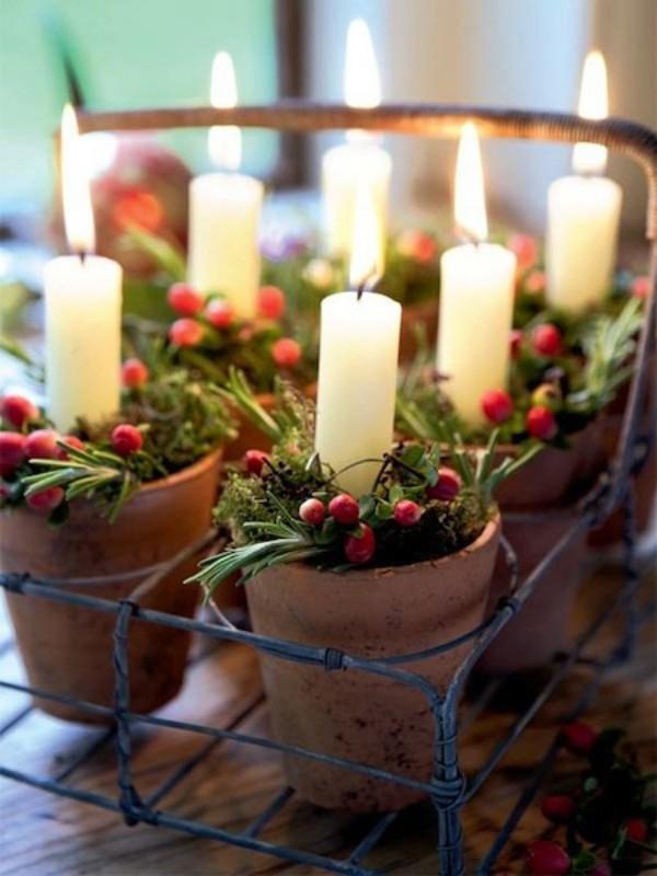 Kerzen dekorieren - kleine Töpfe mit Kerzen
