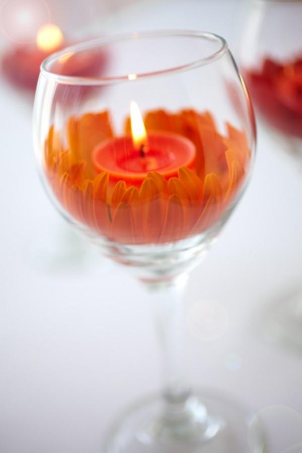 Kerzen dekorieren - orangene Kerzendeko