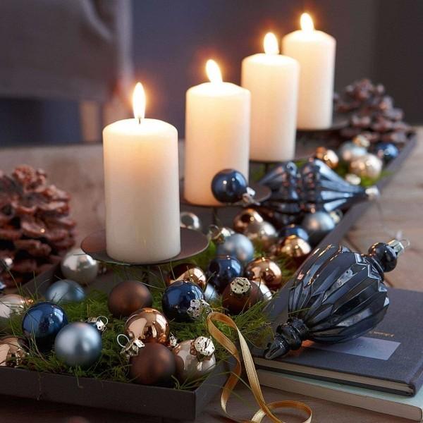 Kerzen dekorieren - tolle Weihnachtskugeln in Blau