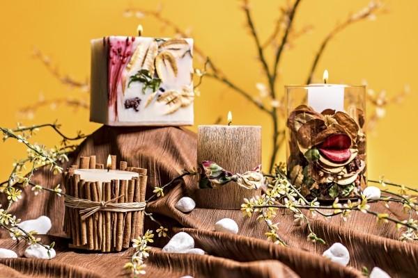 Kerzen dekorieren - tolle Zimtstäbchen Weihnachtsdeko