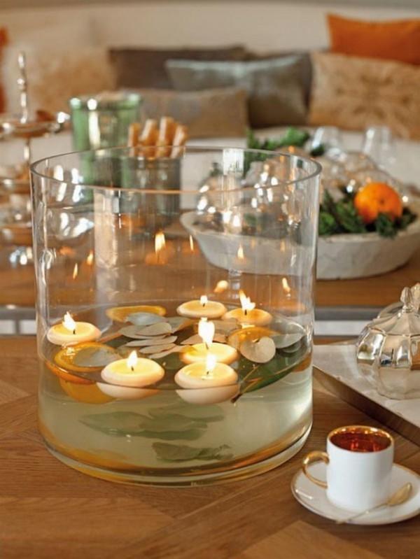 Kerzen dekorieren weihnachten ideen schwimmende kerzen
