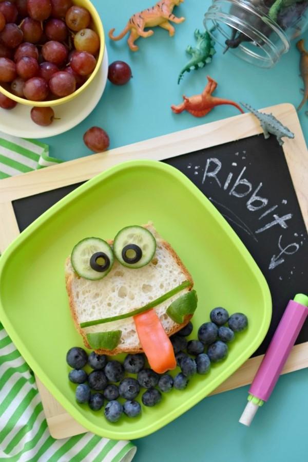 Kindergarten Lunchbox Kinder gesunde Ernährung kreatives Sandwich Frosch