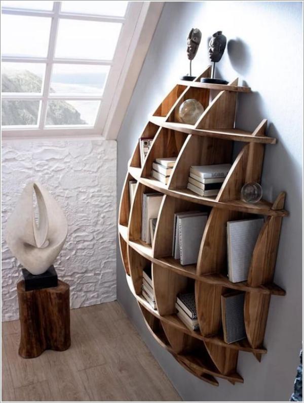 Leere Wand zum Hingucker machen Bücherregal selbst gebaut