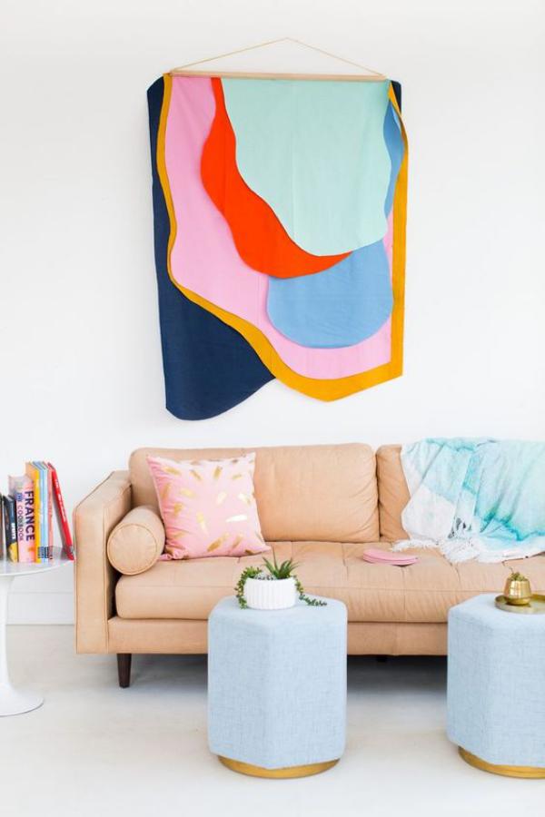 Leere Wand zum Hingucker machen aus Stoff etwas selber meistern Wandbehang