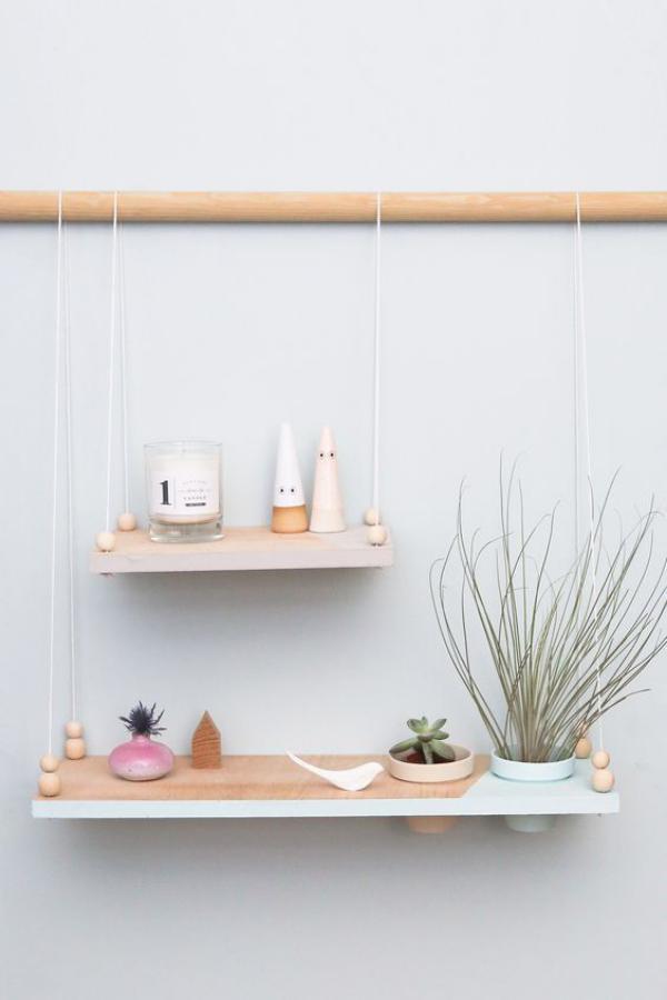 Leere Wand zum Hingucker machen kleines Regal für Zimmerpflanzen selber bauen