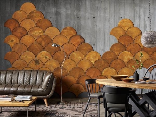 Leere Wand zum Hingucker machen ockerfarbene Kork-Wandfliesen im Fischschuppenmuster