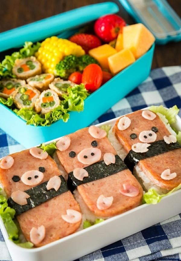 Lunchbox Kinder gesunde Ernährung kreativ gestalten Schweinchen