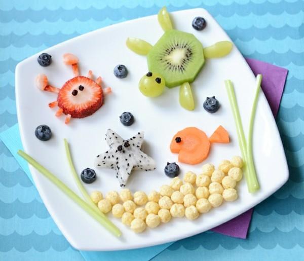 Lunchbox Kinder kreatives Mittagessen Teller Früchte