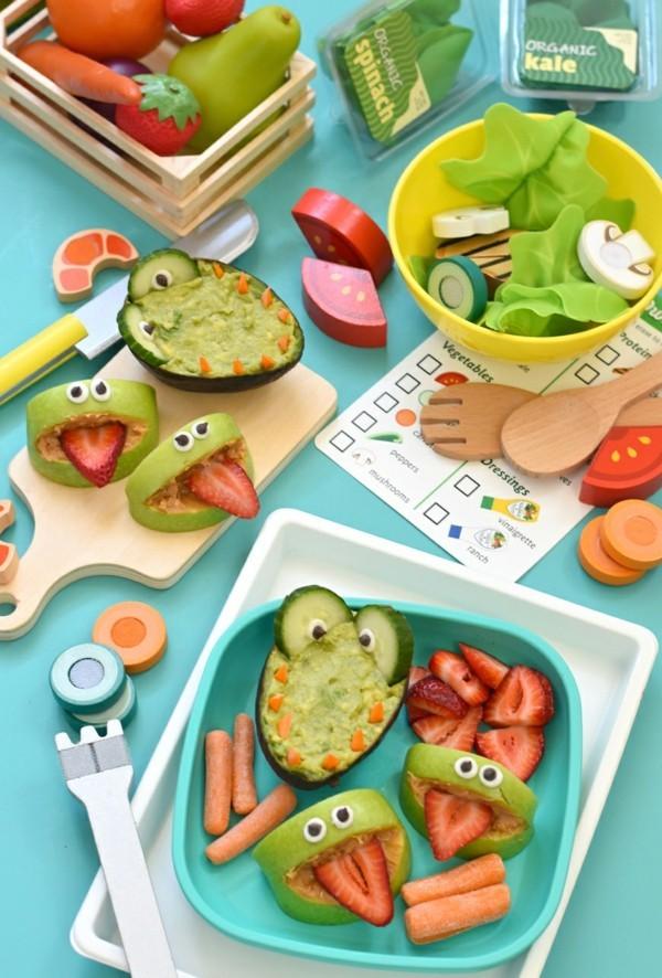 Lunchbox mit Fächern Rezepte Kindergarten Mittagsbox Äpfel Avocado