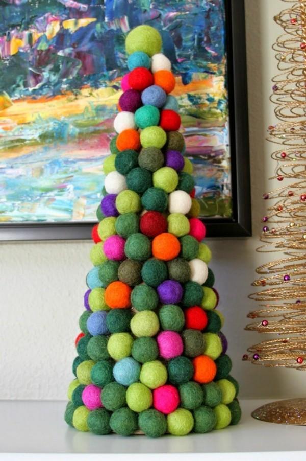 Nassfilzen Filzen Basteln mit Kindern Filzkugeln Weihnachtsbaum