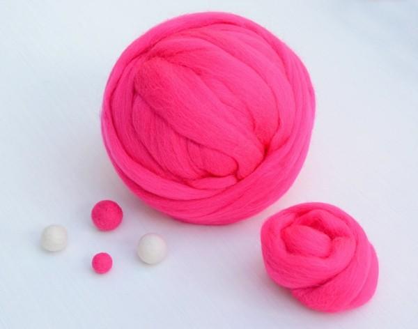 Nassfilzen Filzen Basteln mit Kindern Filzwolle Filzwolle pink