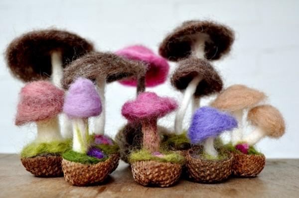 Nassfilzen Filzen Basteln mit Kindern Filzwolle Pilze basteln