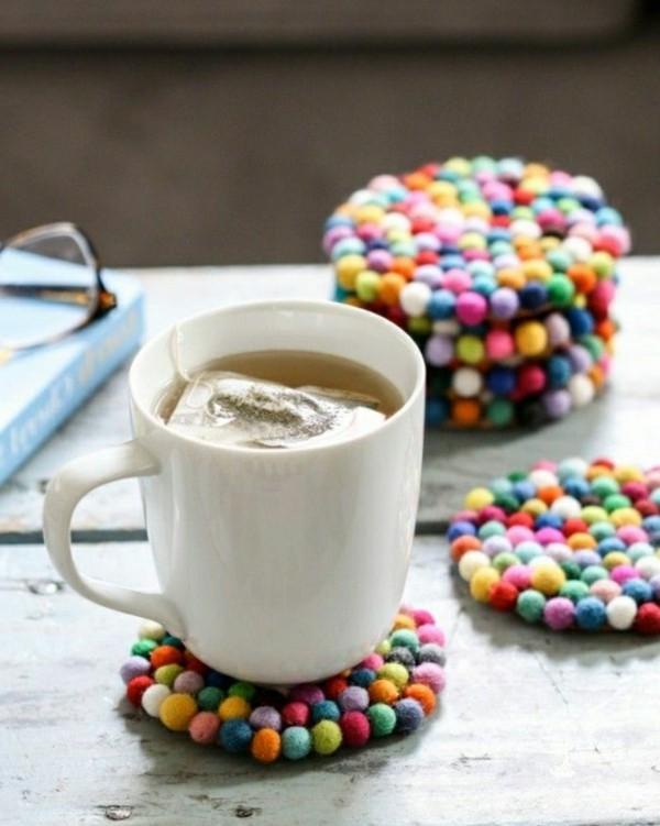 Nassfilzen farbige Tassenuntersetzer Filzen mit Kindern