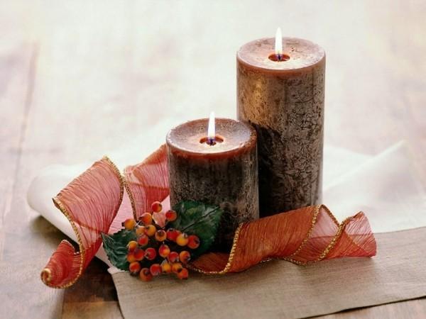Naturmaterialien - Kerzen dekorieren - weihnachten ideen