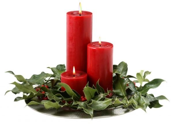 Rote Kerzen - Kerzen dekorieren Weihnachtsdeko