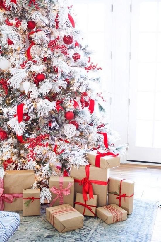 Schöne Weihnachtsdeko Ideen in Rot und Weiß