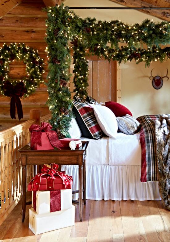 Schlafzimmer weihnachtlich dekorieren Wohlfühloase schaffen weißes Bettzeug rot