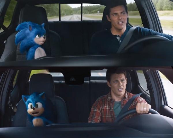 Sonic the Hedgehog sieht nach Redesign endlich wie sich selbst vergleich im auto trailer