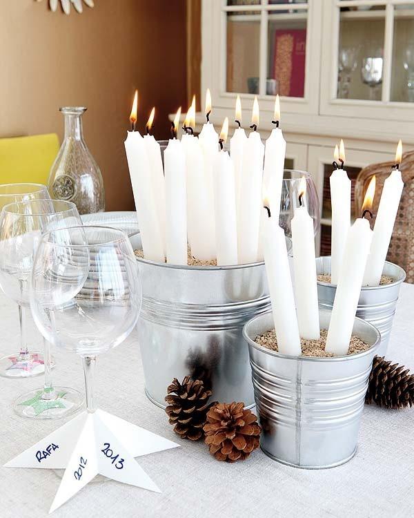 Vintage Weihnachtsdeko - Kerzen dekorieren