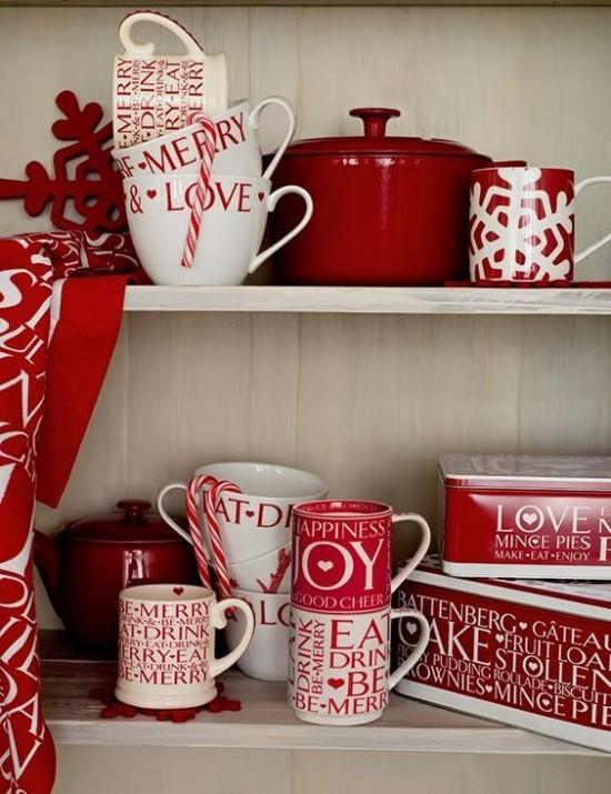 Weihnachtsdeko Ideen in Rot und Weiß Küchengeschirr Tassen