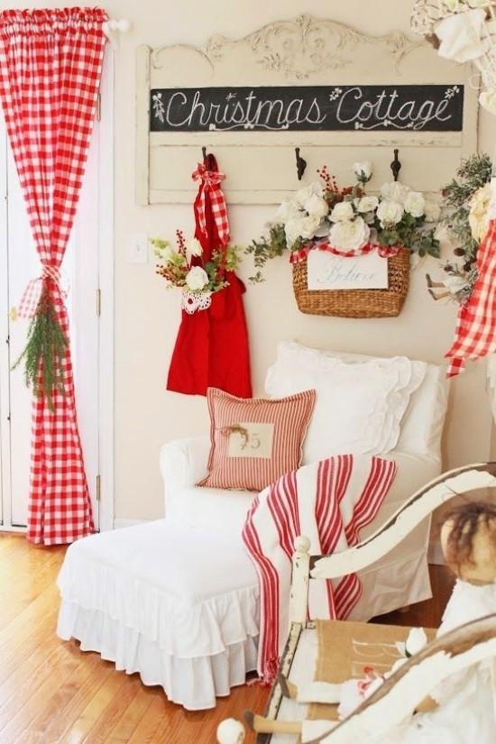 Weihnachtsdeko Ideen in Rot und Weiß Schlafzimmer