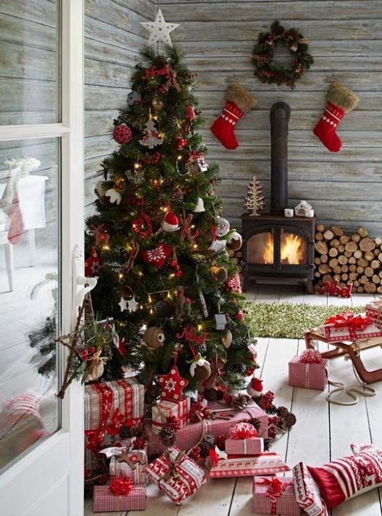 Weihnachtsdeko Ideen in Rot und Weiß ideen