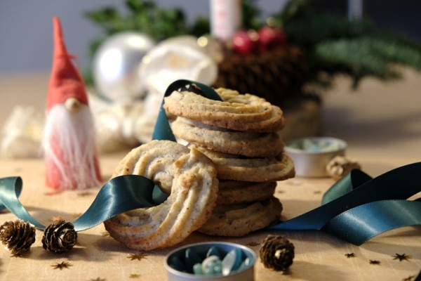Weihnachtssüßigkeiten Vaniljekrans dänische Butterkekse