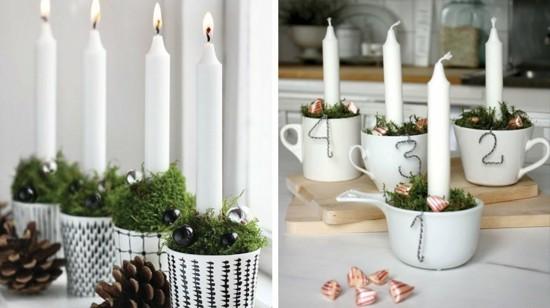 adventskranz dekorieren mit bechern