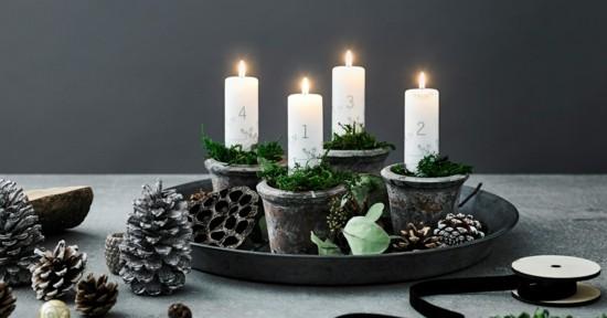 adventskranz dekorieren mit beton und naturmaterialien