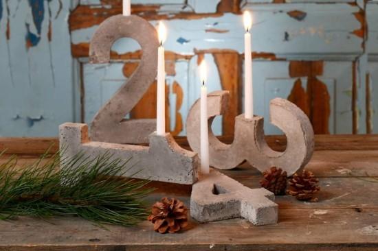 adventskranz dekorieren mit beton ziffern