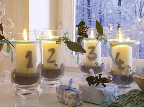 außergewöhnliche adventskränze kerzen in gläsern