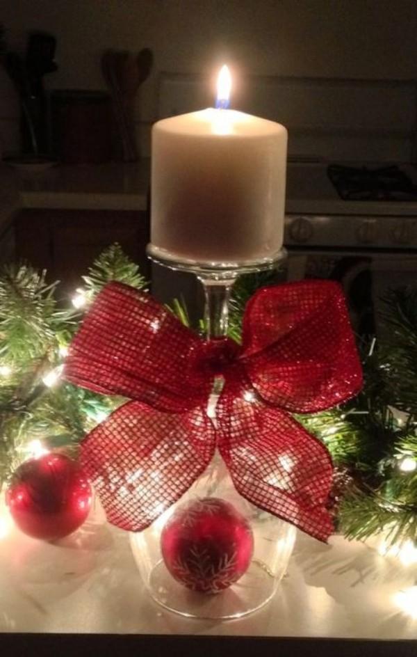 band mit einer kerze weihnachten deko