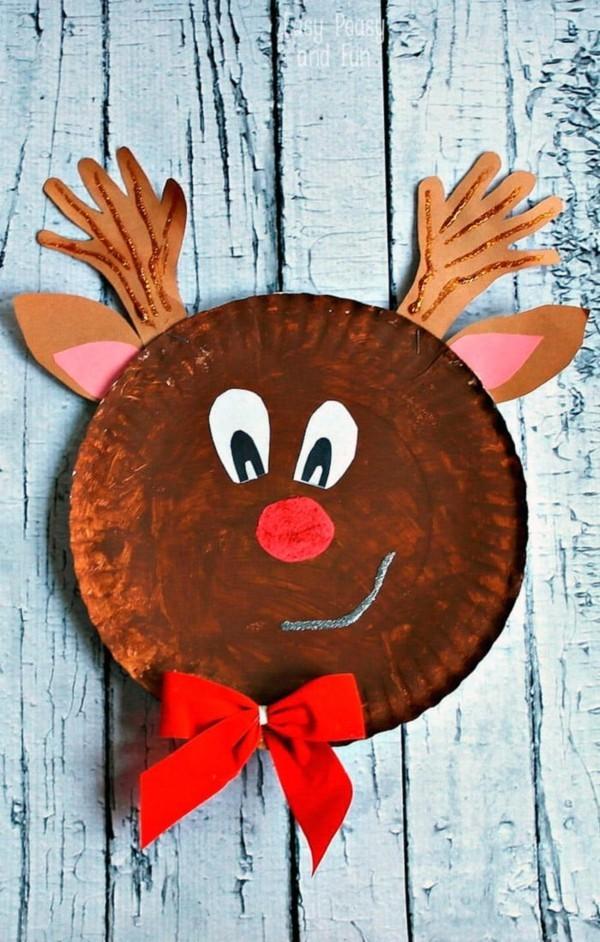 basteln mit kindern weihnachtsdeko rentier