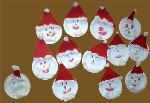 basteln mit kindern weihnachtsmänner aus papptellern