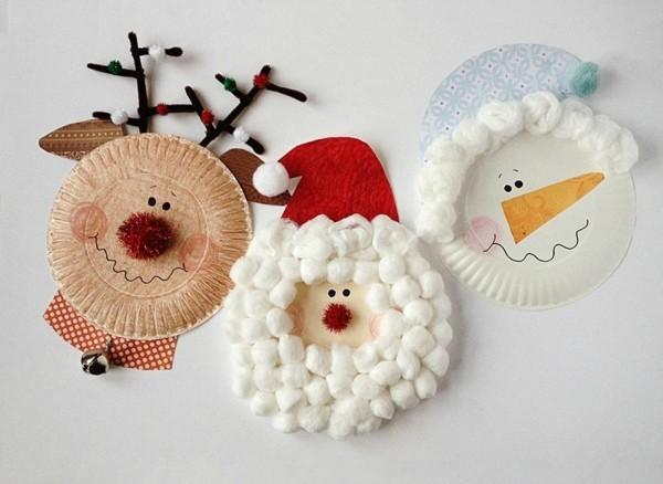 basteln mit papptellern weihnachtsbasteln rudolf schneeman weihnachtsmann