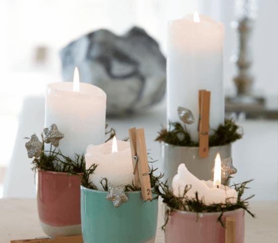 becher adventskranz dekorieren mit holzwäscheklammern