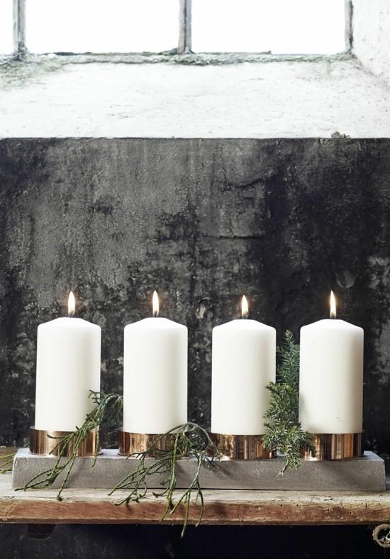 beton adventskrankz dekorieren weiße stumpenkerzen