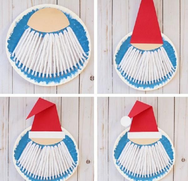 diy weihnachtsmann ideen basteln mit papptellern