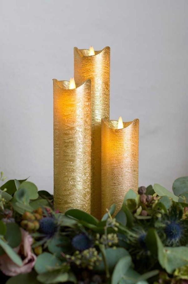 drei goldene kerzen weihnachten kerzen