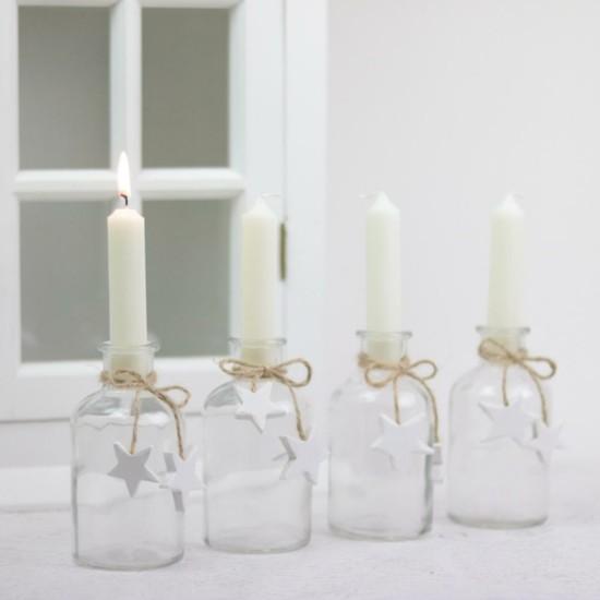 einfach adventskranz dekorieren kleine glasflaschen