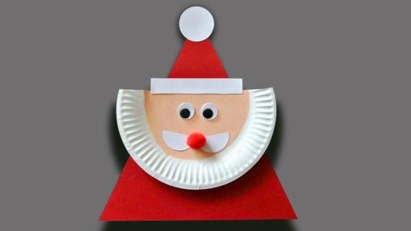 einfachen weihnachtsmann basteln mit papptellern