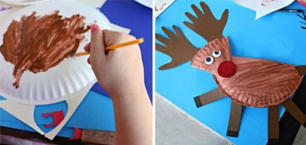 elch basteln mit papptellern zu weihnachten