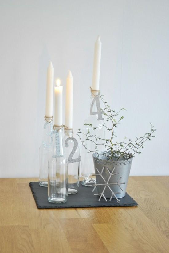 eleganten adventskranz dekorieren glasflaschen